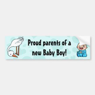 New parents of baby boy stork bumper sticker