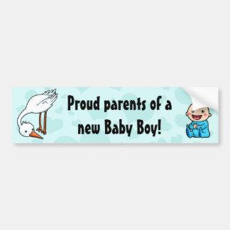 New parents of baby boy stork bumper sticker