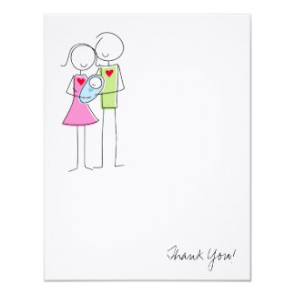 New Parents with Baby Boy - Thank You Card
