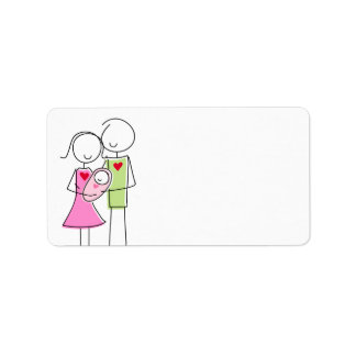 New Parents with Baby Girl - Labels