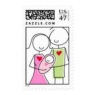 New Parents with Baby Girl - Postage