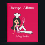 """New Personalized Mini Recipe Binder<br><div class=""""desc"""">Fun Retro recipe binder in a mini format, great to organize recipes without taking so much space. This amazing binder has a cute illustration of a retro chef girl on the cover. This product is easy to personalized, you change change up fonts, text, title, words on the spine and back,...</div>"""