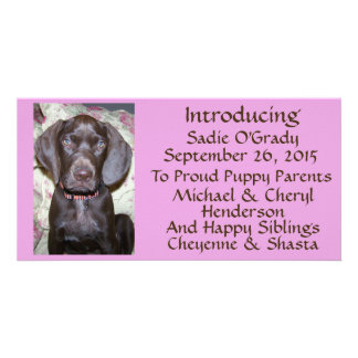 New Pet Adoption Announcement Brown Font on Pink