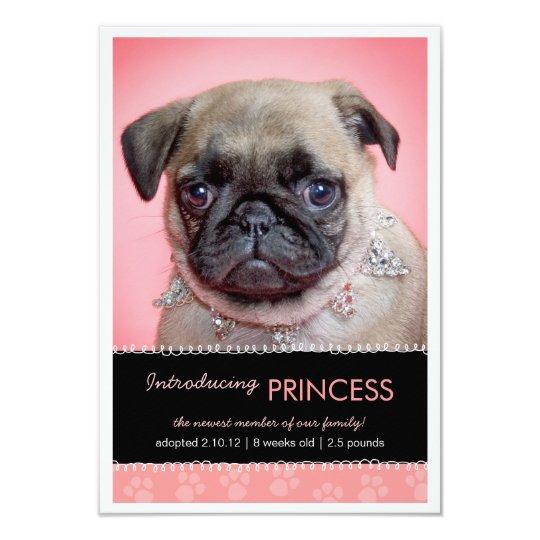 New Pet Pink Paw Prints Photo Announcement