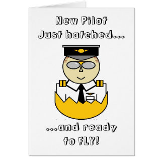 new pilot just hatched and ready to fly card greeting cards