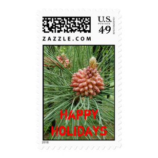 new pinecone, Happy Holidays Postage Stamp