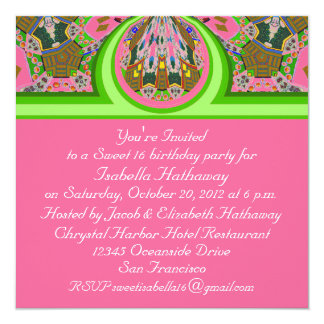 New Pink & Green Sweet 16 B-day Party Invitation