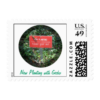 New Planting with Gecko Custom Postage Captioned