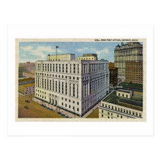 New Post Office Detroit, Michigan - Vintage Postcard
