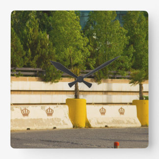 New Potted Palm Trees in a row Square Wall Clock
