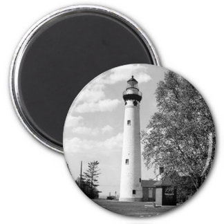 New Presque Isle Lighthouse 2 Inch Round Magnet