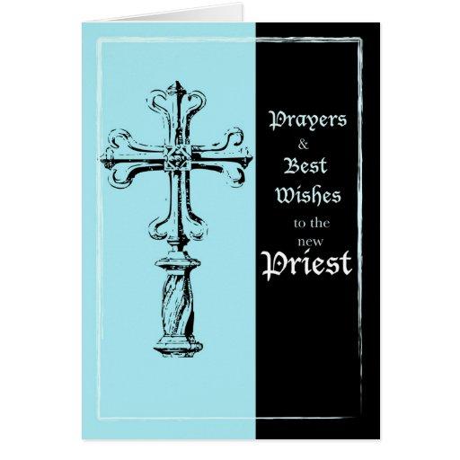 New Priest Ordination Congratulations Cross on Blu Card ...