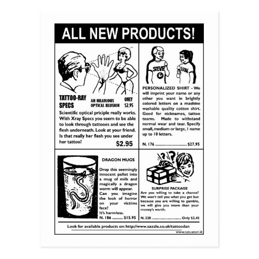 New products postcard