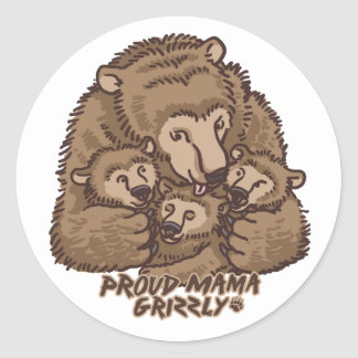 New Proud Mama Grizzly Classic Round Sticker