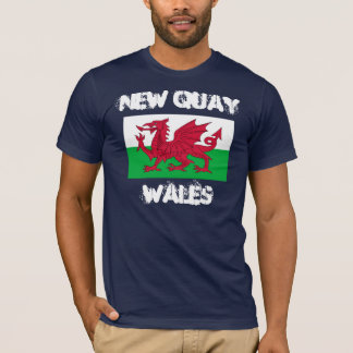 New Quay, Wales with Welsh flag T-Shirt