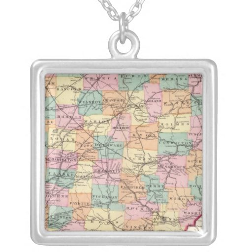 New rail road map of the State of Ohio Necklace