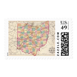 New rail road map of the State of Ohio Postage