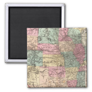 New rail road map of the United States 2 Inch Square Magnet
