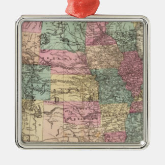 New rail road map of the United States Metal Ornament