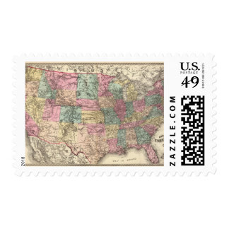 New rail road map of the United States Postage