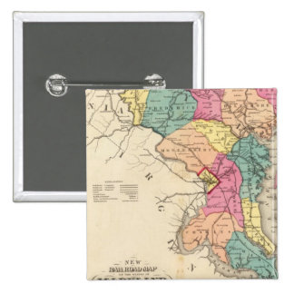 New railroad map of the states of Maryland 2 Inch Square Button
