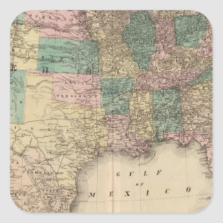 New railroad map of the United States 3 Square Sticker