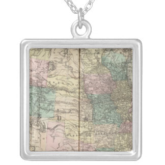 New railroad map of the United States Silver Plated Necklace