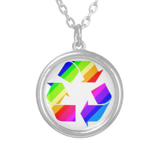 New Rainbow Recycle Silver Plated Necklace