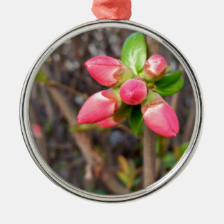 new red buds metal ornament