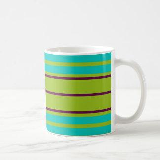 New Retro Blue and Purple Stripes on Green Coffee Mug
