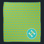 """New Retro Green and Blue Polka Dot Monogram Bandana<br><div class=""""desc"""">A fun polka dot monogram pet bandana in shades of blue and green from our New Retro color palette.  Personalize the matching monogram with your choice of name and initial.</div>"""
