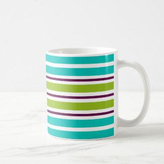 New Retro Green Blue Purple Stripes Coffee Mug