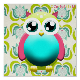 New Retro Green Owl poster