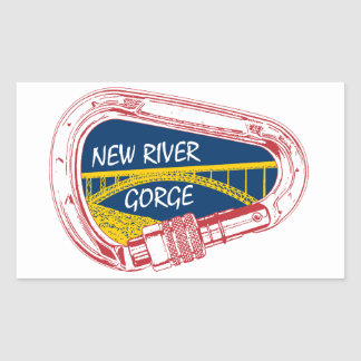 New River Gorge Climbing Carabiner Rectangular Sticker
