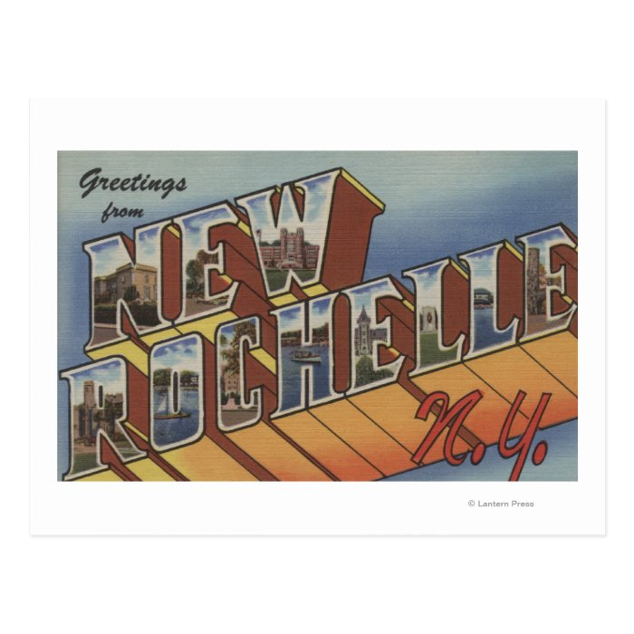 New Rochelle, New York - Large Letter Scenes Postcard
