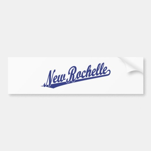 New Rochelle script logo in blue Car Bumper Sticker