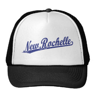 New Rochelle script logo in blue distressed Trucker Hat
