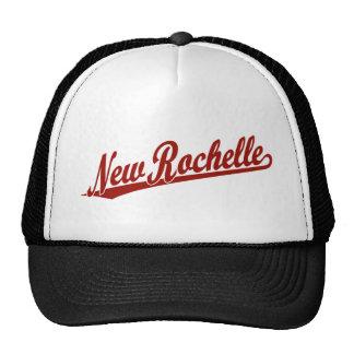 New Rochelle script logo in red Trucker Hat