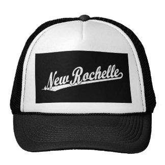 New Rochelle script logo in white distressed Trucker Hat