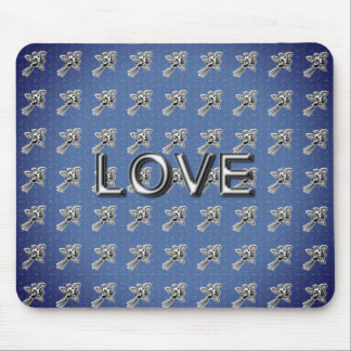 NEW- Roses-Retro-Silk-Night-Blue(c)Silver-Love Mouse Pad