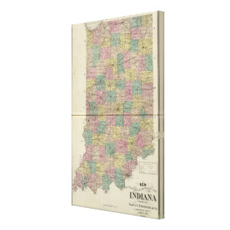 New sectional and township map of Indiana Canvas Print