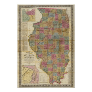 New sectional map of the state of Illinois 2 Poster