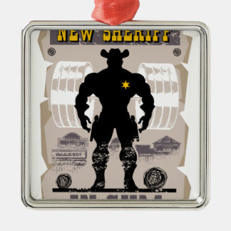 new sheriff in gym metal ornament