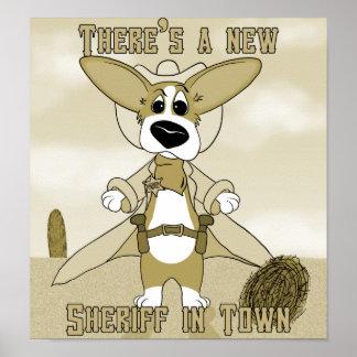 New Sheriff in Town Corgi Poster