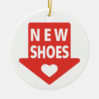 new shoes, red arrow with heart ceramic ornament