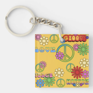 NEW! Sixties Peace 2-Sided Keychain Square Acrylic Keychain