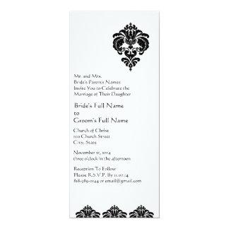 New Sizes 4.25x9.25 Damask Wedding Invitation