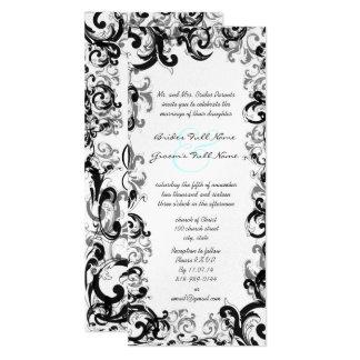 New Sizes 4.25x9.25 Fancy Swirl Wedding Invitation