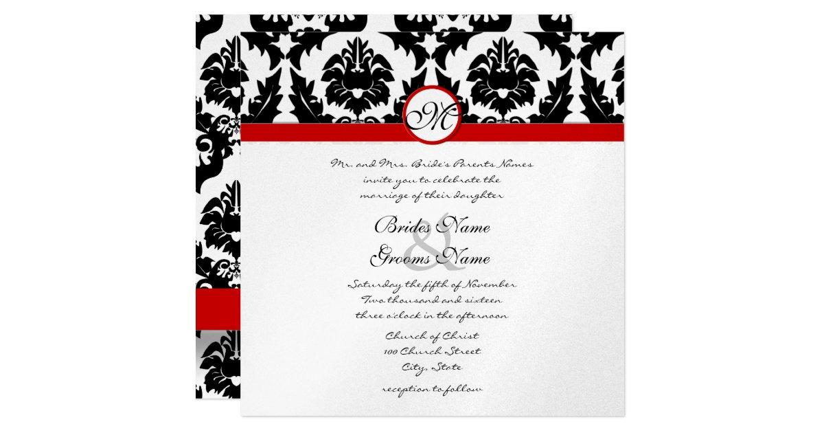 Wedding Invitation Sizes: New Sizes Black Damask Swirls Wedding Invitation