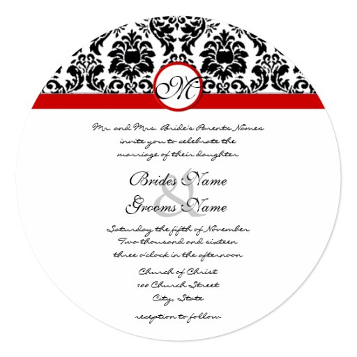 New Sizes Black Damask Swirls Wedding Invitation